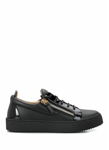 Giuseppe Zanotti Giuseppe Zanotti  Logolu Çift Fermuarlı Kadın Deri Sneaker 101624558 Siyah